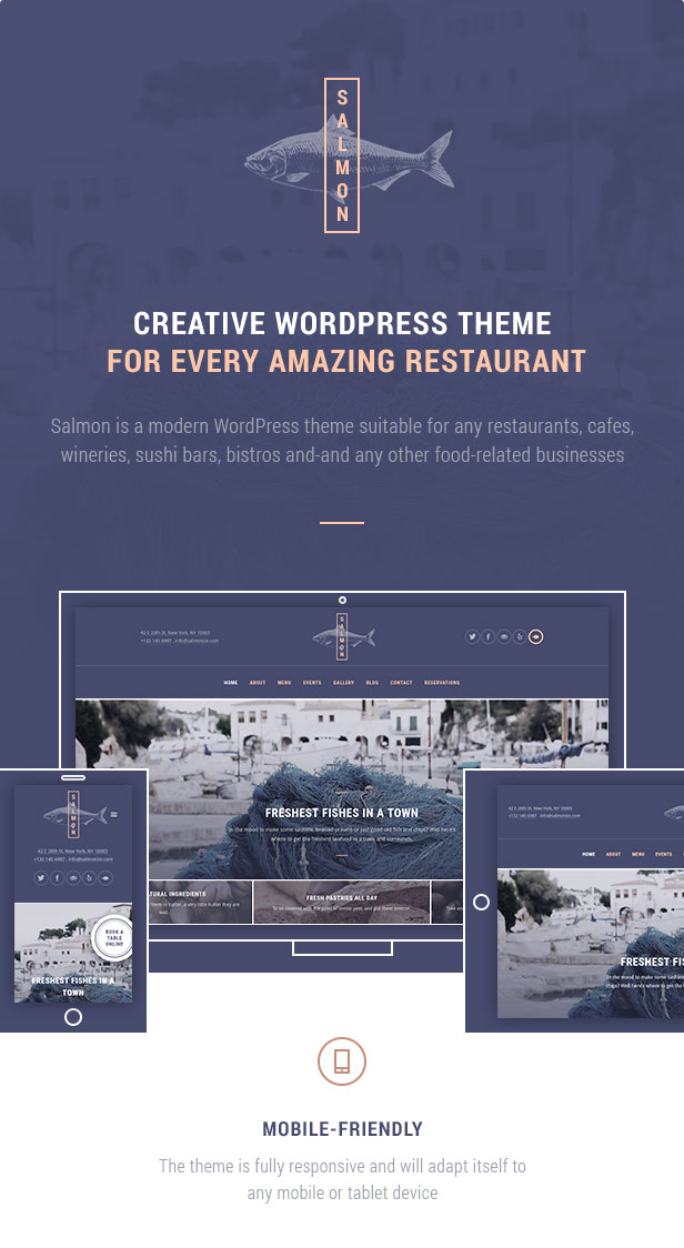 Creative WordPress theme for every amazing restaurant: Salmon is a modern WordPress theme suitable for any restaurants, cafes, wineries, sushi bars, bistros and-and any other food-related businesses